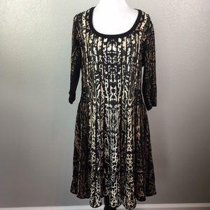Xl stretchy animal print black dress